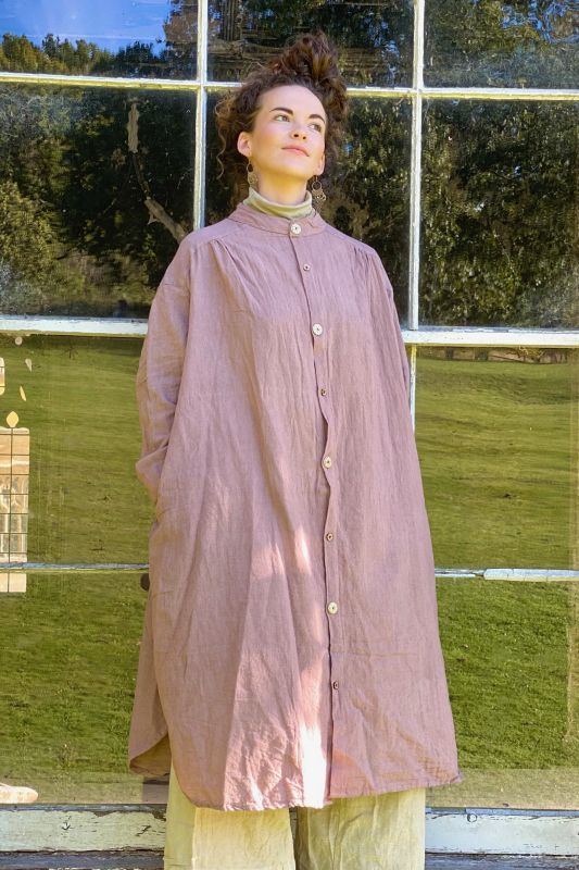 画像1: 手織りコットンシャツワンピース 4カラー2サイズ Fingal (1)