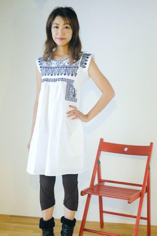 画像1: *ホワイトのみラスト1!COTTON刺繍チュニックワンピ 3colors ☆Natsumi-ya☆ (1)