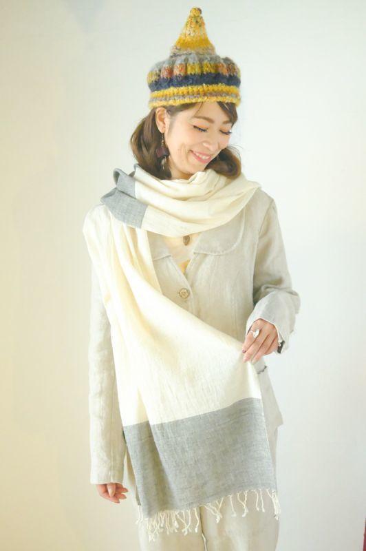 画像1: ホワイト&グレーラスト!手織りオーガニックコットン草木染めカッチストール3種類 NATSUMI-YA (1)