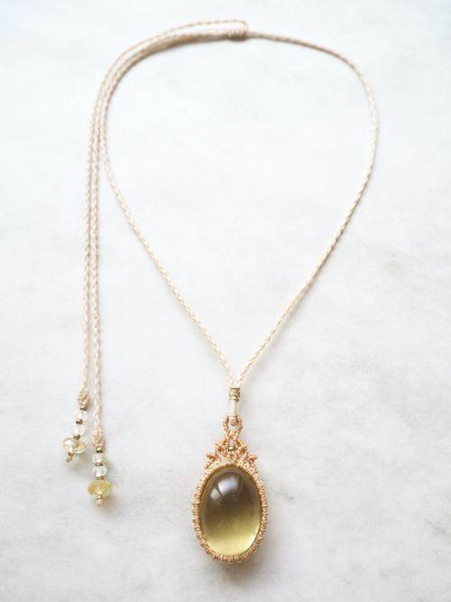 画像1: レモンクォーツ/マクラメペンダント Stones spirit (1)