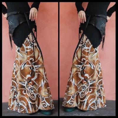 画像1: ND/W Long Skirt :Brown mix  2サイズ NOMAD WORLD [直送アイテム] (1)
