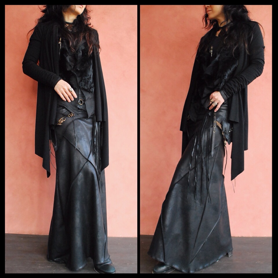 画像1: L.SK/ロングスカート ダメージレザー調  ブラック 3サイズ NOMAD WORLD[直送アイテム] (1)
