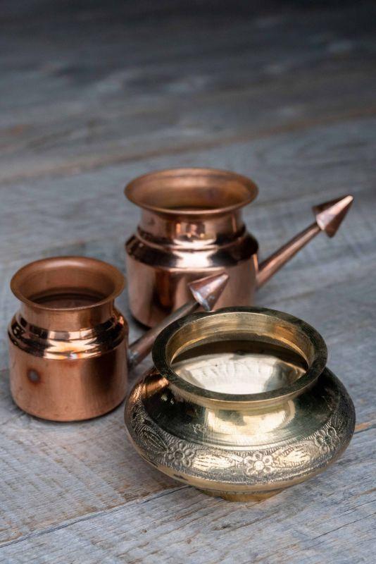 画像1: 銅製ネティポット 鼻うがい 2サイズ (1)