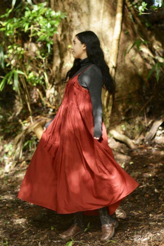 画像1: 草木染め ピンタックドレス 2カラー Terra (1)