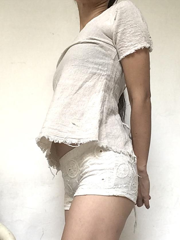 画像1: しっかりサポート 1部丈 レディースボクサーパンツ ⭐︎刺繍 ホワイト SM/ML2サイズ☆TrishuL  (1)
