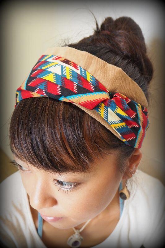 画像1: アフリカンバティック コーデュロイヘアバンド African Batik 9デザイン BAOBAB (1)