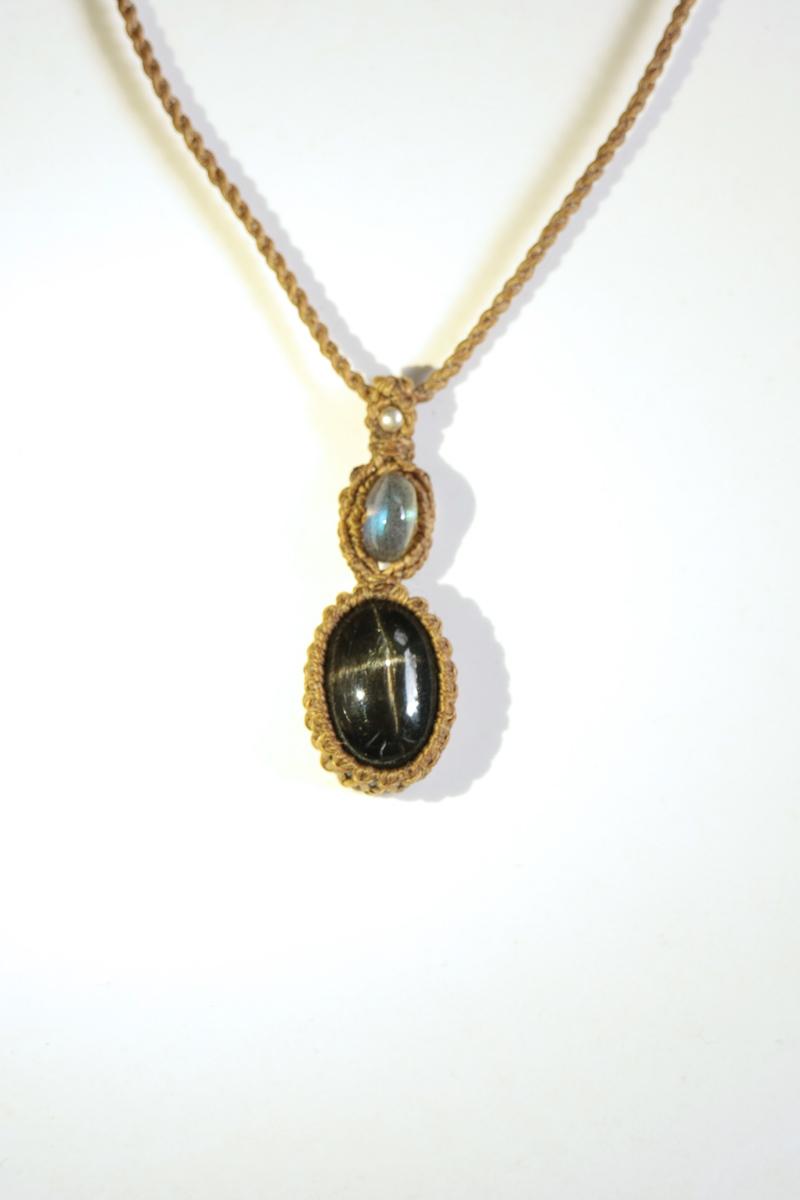 画像1: Sale 20% OFF!! ブラックスターとラブラドライトビーズのマクラメペンダント Liber minerals (1)