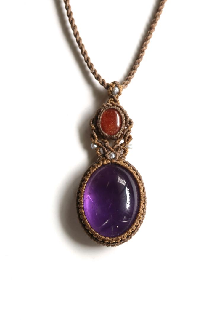 画像1: Sale 20% OFF!! アメジスト×サンストーン×ケシ真珠のマクラメペンダント Liber minerals (1)