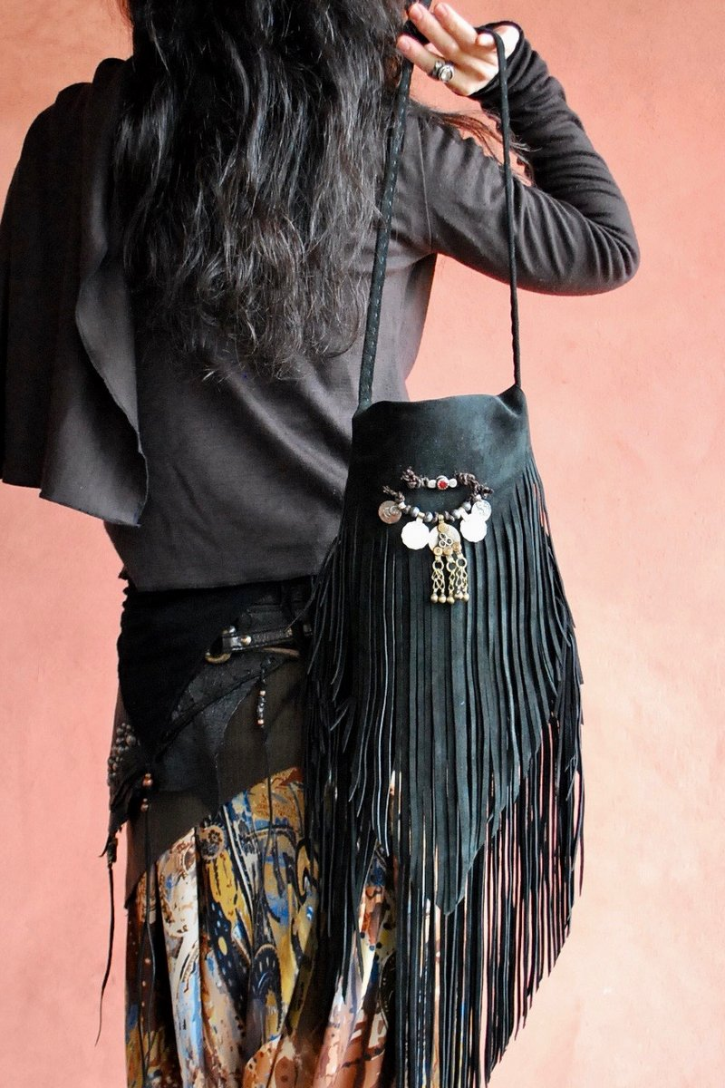 画像1: FRINGE BAG with Afghan coin NOMAD Black ブラック (1)
