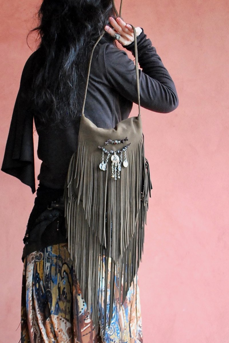 画像1: FRINGE BAG with Afghan coin NOMAD Brown ブラウン NOMAD WORLD【直送アイテム】 (1)