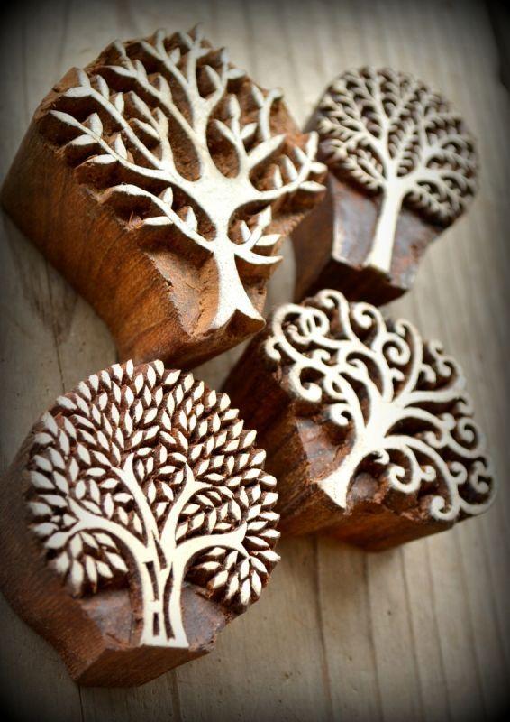 画像1: Sale 50% OFF!! 再入荷!ukA 木版はんこ ツリー 4種類 Wood Stamp Tree 4 Designs (1)