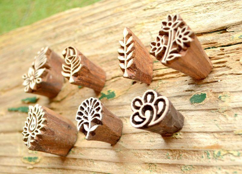 画像1: Sale 10% OFF!! 再入荷!ukA 木版はんこ スモール 全6種類 Wood Stamp Small 6Design (1)