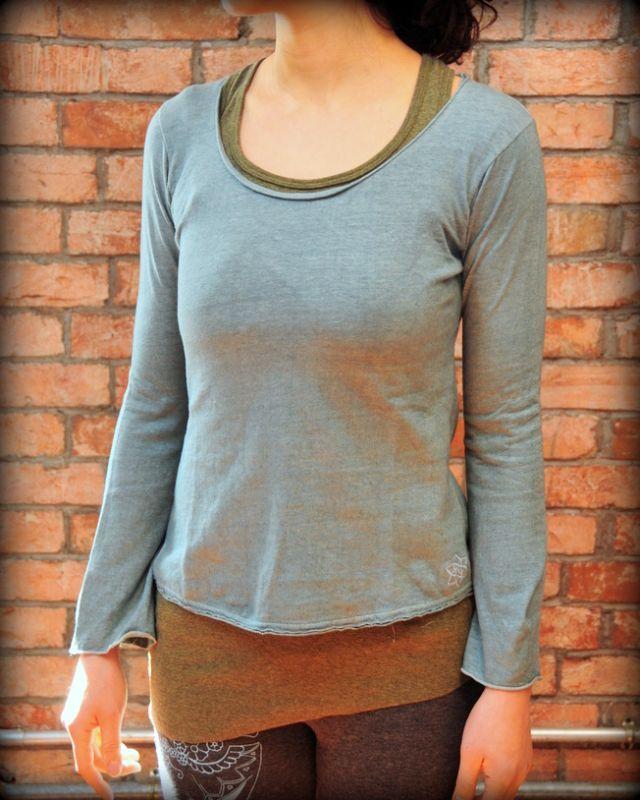 画像1: *Sale 30% OFF!! asana フレアスリーブ ヘンプコットン 草木染め 8color 3サイズ (1)