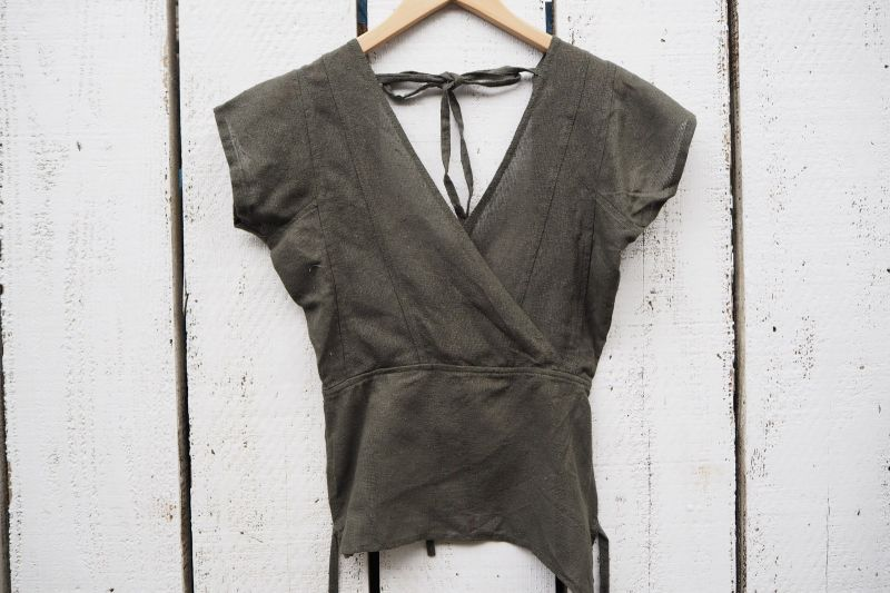 画像1: Sale 10% OFF!! グリーンラスト!ukA earth Primitive!! Raw Silk Tribal Top 3カラー (1)