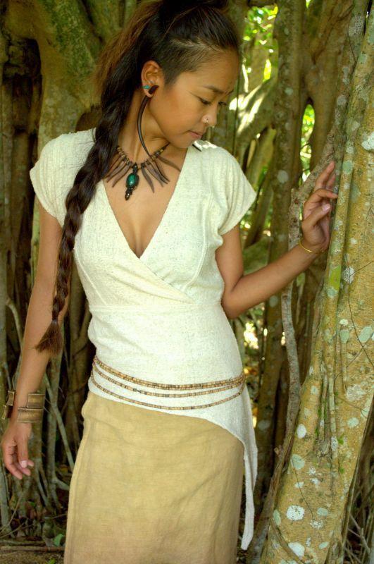 画像1: Sale 10% OFF!! グリーンのみラスト1!ukA earth Primitive!! Raw Silk Tribal Top 3カラー (1)