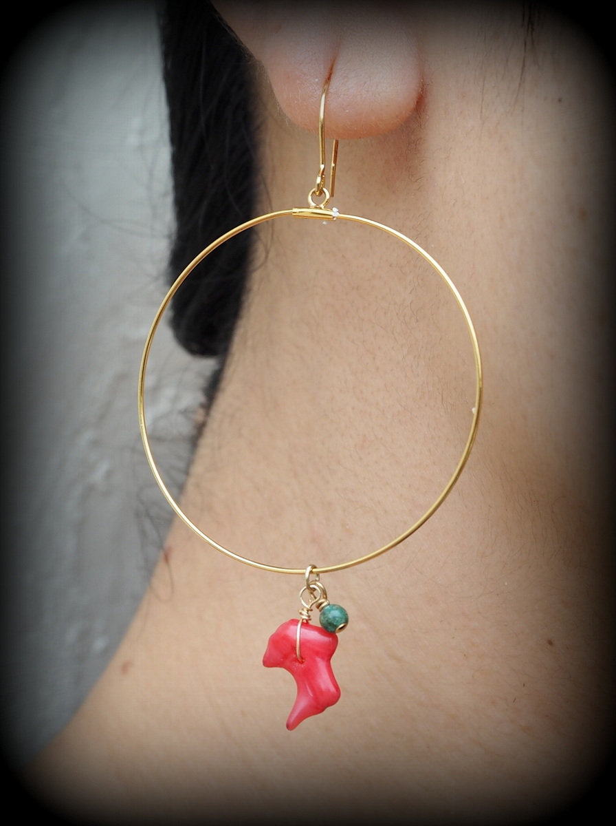 画像1: Sale 30% OFF!! Coral Circle earrings Sunrise from Ishigaki Island. (1)