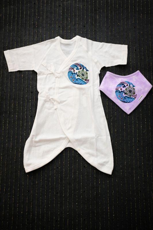 画像1: あさひや 新生児用肌着・スタイセット 2カラー 手染め琉球紅型 (1)