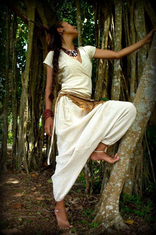 画像1: Sale 40% OFF!!  ukA earth women Native pants - natural color  サルエルパンツ 3素材 3カラー (1)